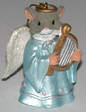 Christmas Ornament Mouse Angel with Harp