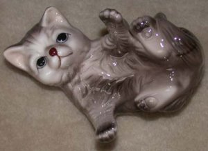 Cat Gray Porcelain  Playfully Rolling