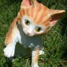 "Bi-Color Cat Yellow and White Figurine 5 7/8"" Tall"