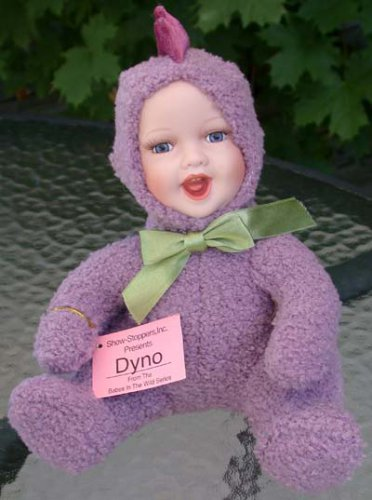 Show-stoppers Babes in the Wild Dyno Dinosaur Purple Porcelain Face