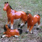 Horse Family Porcelain Set of 3 Brown with Black