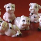 Set of Six Happy Pigs Bone China Pink in Color