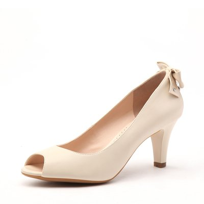 Love-shaped Pendant with butterfly decoration mid-heel open-toe shoe white