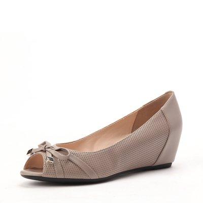 butterly decoration peep-toe wedge heel women shoe beige