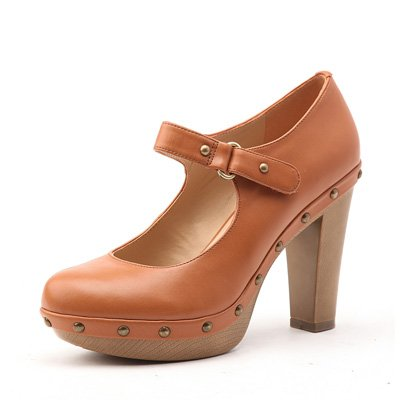 rivet decoration platform chunky high heel women shoe  brown