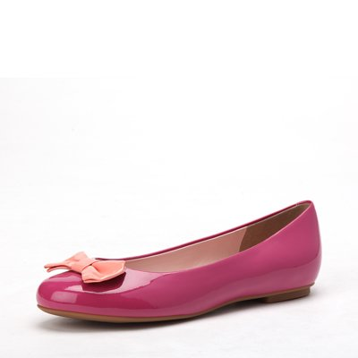 polish upper butterfly decoration round-toe  flat shoe  pink