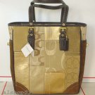 AUTHENTIC COACH HOLIDAY GOLD PATCHWORK TOTE HANDBAG 11409 - NEW WITH TAG