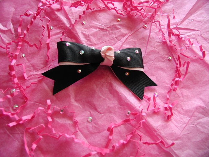 Black/ Pink Bow with crystals