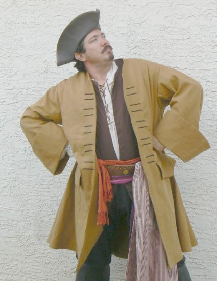 Pirate Coat Jack Sparrow Canvas Frock Jacket Colonial Style