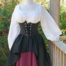 Renaissance Pirate Dress Waist Cincher Corset Circle Skirt Wench LARP