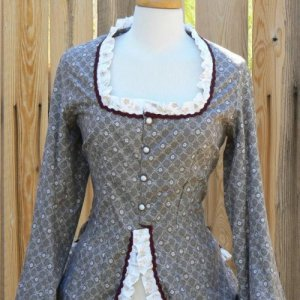 Victorian Polonaise Bustle Dress Cotton Calico Steampunk LARP Gown