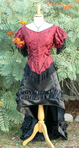 Short Victorian Bustle Skirt Steampunk Saloon Girl Satin