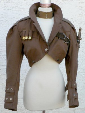 Steampunk Airship Bolero Jacket Canvas Flight Coat LARP