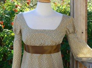 Regency Era Jane Austen Dress Cotton Floral Empire Waist
