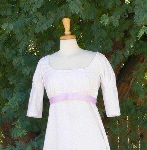 Empire Waist Regency Dress Short Sleeve Cotton