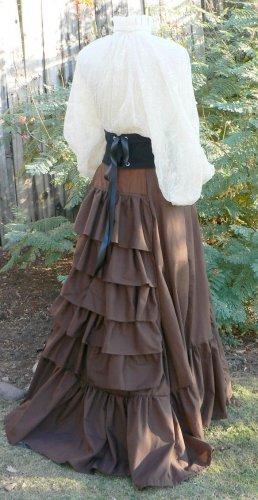 Victorian Bustle Skirt Ruffles Cotton Sweeney Todd Style