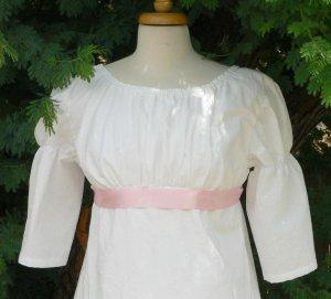 Regency Dress Short Sleeve Cotton Jane Austen Empire Adjustable