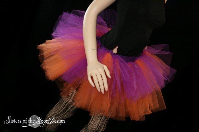 Purple and orange rave adult dance tutu XLarge Plus