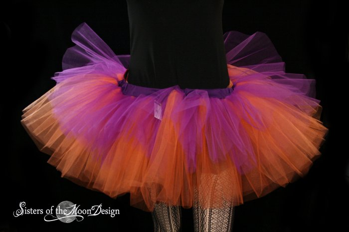 Purple and orange rave adult dance tutu Large