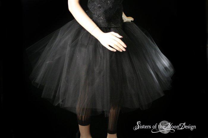 Black Romance extra poofy knee length tutu skirt petticoat Adult XLarge Plus