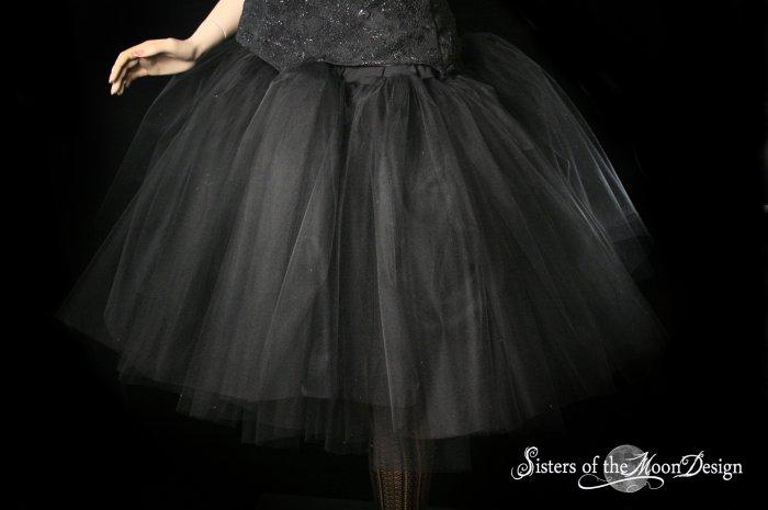 Black Romance extra poofy knee length tutu skirt petticoat Adult XXLarge Plus
