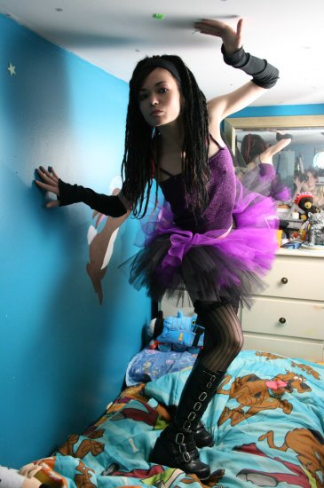 Layered two tone gothic adult dance tutu Black and purple Small
