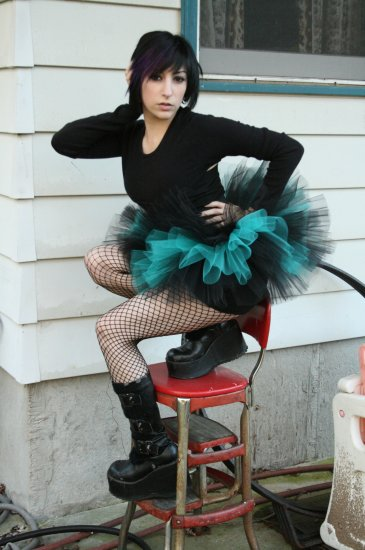 Peek a boo mico mini Black and teal adult tutu Large