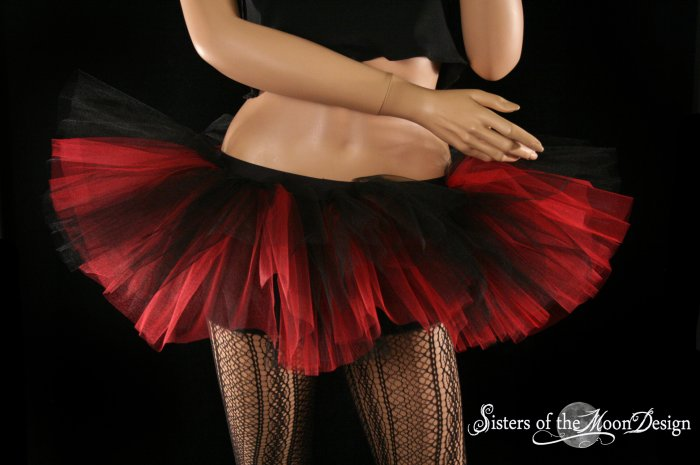 Peek a boo mico mini Black and red adult tutu Small