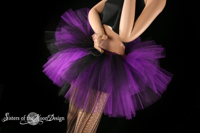 Two Tone Three tier tutu black and purple Adult Small