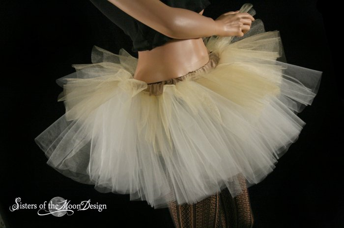 Layered two tone adult dance tutu Gold and ivory Small