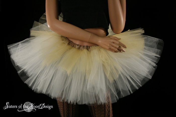 Layered two tone adult dance tutu Gold and ivory XLarge Plus