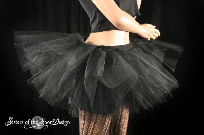 Midnight black extra poofy tutu skirt Adult With Underskirt petticoat Medium