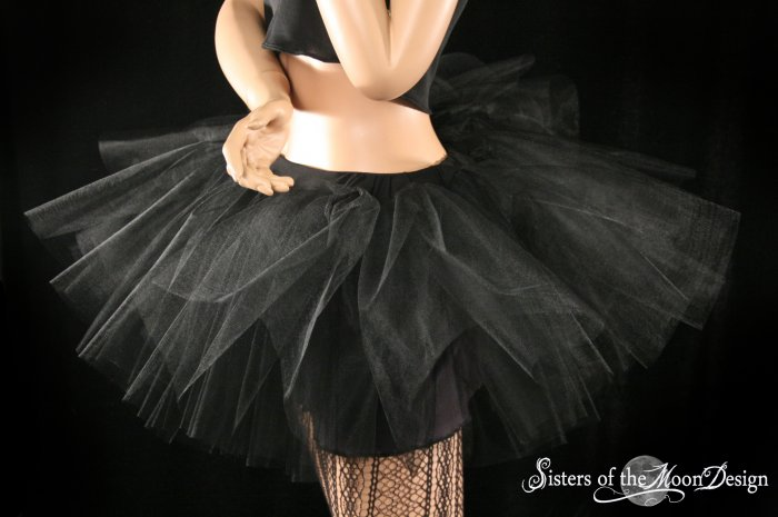 Midnight black extra poofy tutu skirt Adult With Underskirt petticoat Small