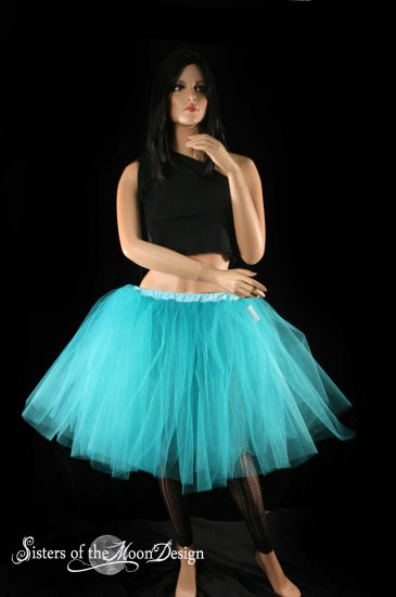 Teal Romance extra poofy knee length tutu skirt petticoat Adult large