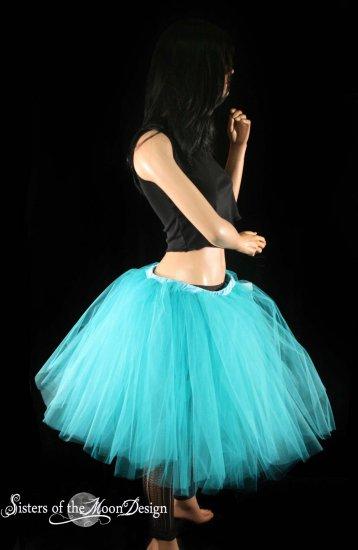 Teal Romance extra poofy knee length tutu skirt petticoat Adult Medium