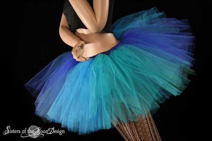 Mermaid blue, turquoise, teal and green Monster dance tutu Adult petticoat Small