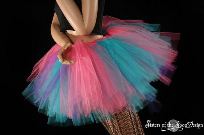 Cotton Candy Extra puffy pink, purple and turquoise adult petticoat Medium