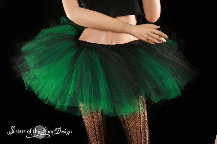 Black and green Layered two tone gothic adult dance tutu XLarge-Plus