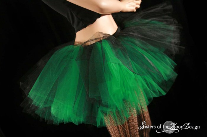 Black and green Layered two tone gothic adult dance tutu Small