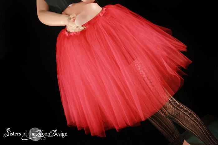 Red Romance extra poofy knee length tutu skirt petticoat Adult Medium