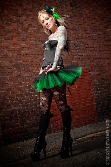 Peek a boo mini black and green tutu skirt Adult large