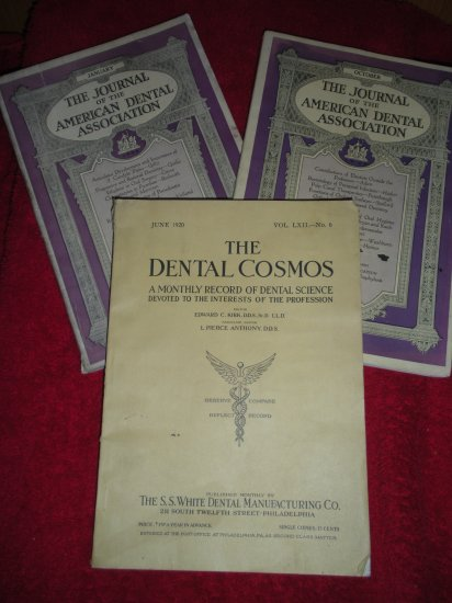 Three Dental Journals 1920 Dental Cosmos and Two 1926 Journal of ADA Zeppelin AD