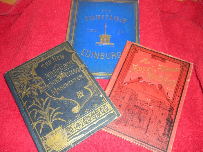 3 Antique Viewbooks Cabinet Albums from UK Manchester Edinburgh and Windsor