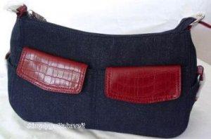 Madison Ridge Wathne Denim Bag Faux Croco Detail