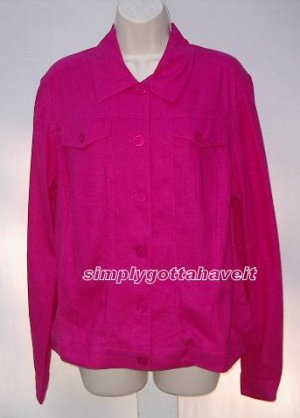 Club Passport Embroidered Linen/Rayon Jean Jacket size 14 (Large)