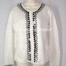 Kathie Lee Embellished Zip Front Cardigan Medium