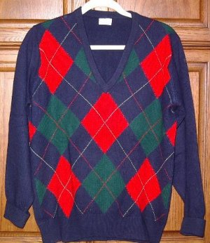 Neiman Marcus 100% Cashmere Navy Argyle sweater Medium
