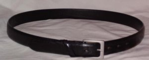 Novia black lizard grain leather belt Italy size 36