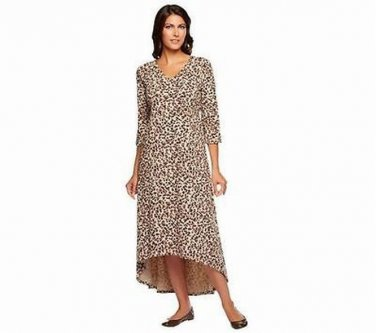 Denim & Co. Abstract Animal Print Hi-Low Hem Knit Dress Taupe 1X New in package
