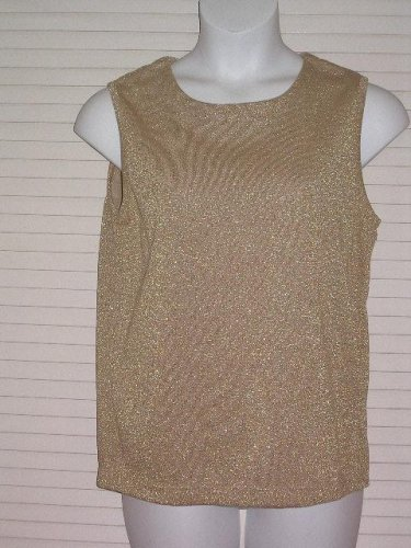 Bob Mackie Metallic Gold Sleevelss Shell Style Blouse Size Medium New with tag